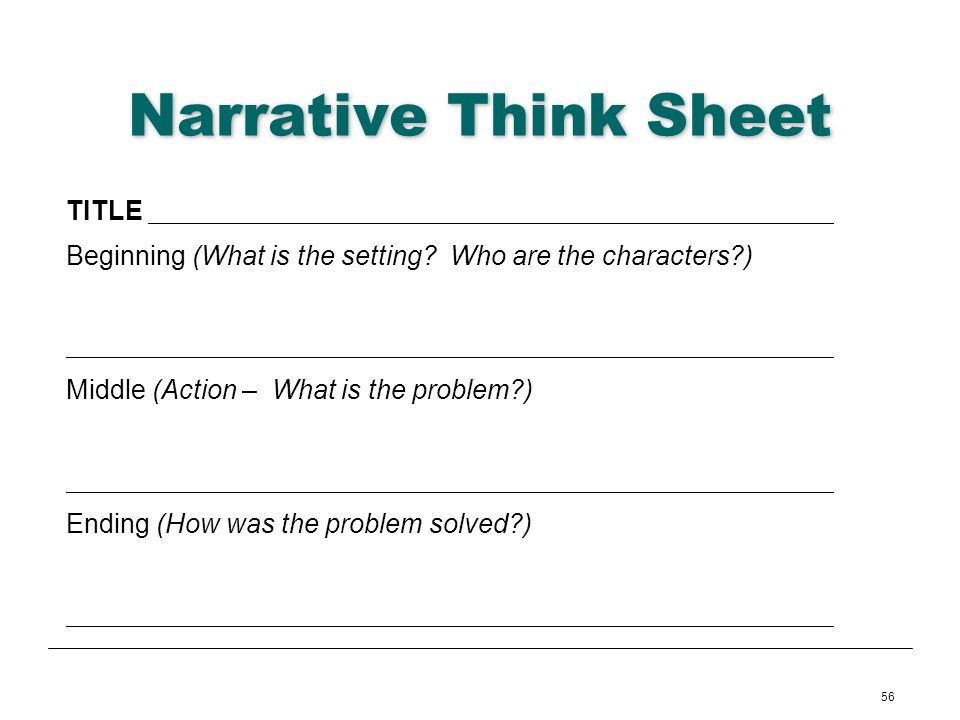 Narrative Think Sheet TITLE