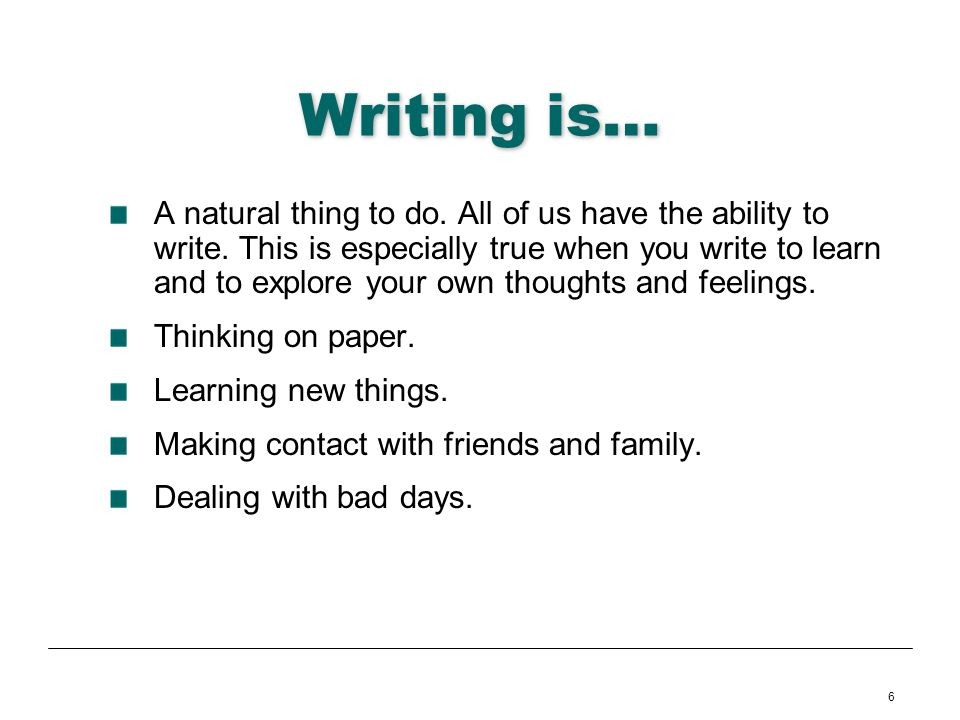 Writing is…