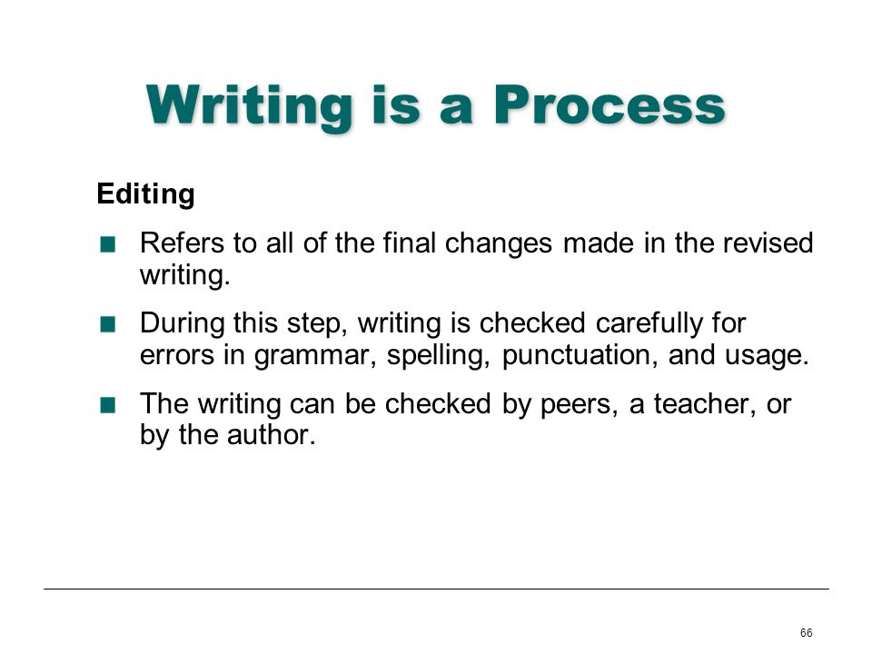 Writing is a Process Editing