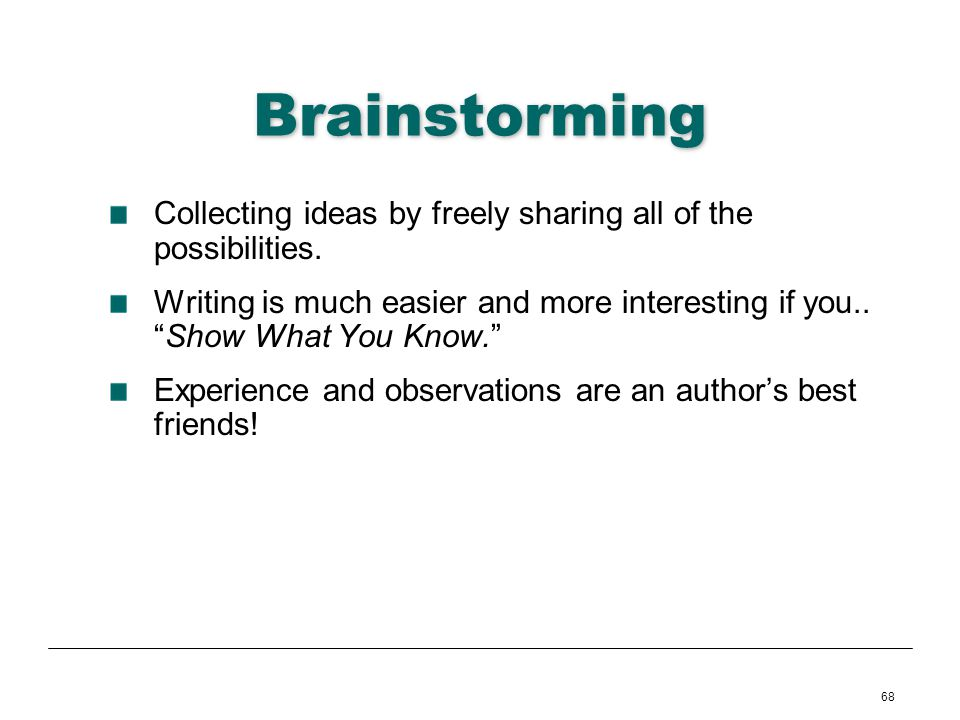 Brainstorming Collecting ideas by freely sharing all of the possibilities.