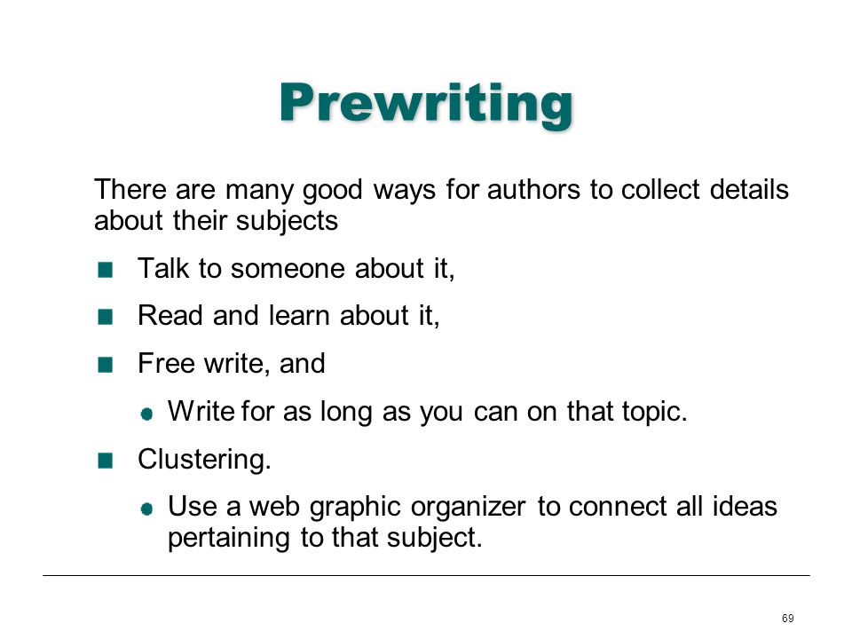 Prewriting There are many good ways for authors to collect details about their subjects. Talk to someone about it,
