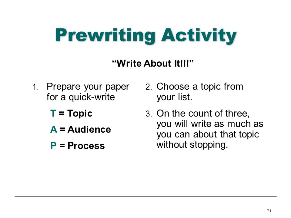 Prewriting Activity Write About It!!!