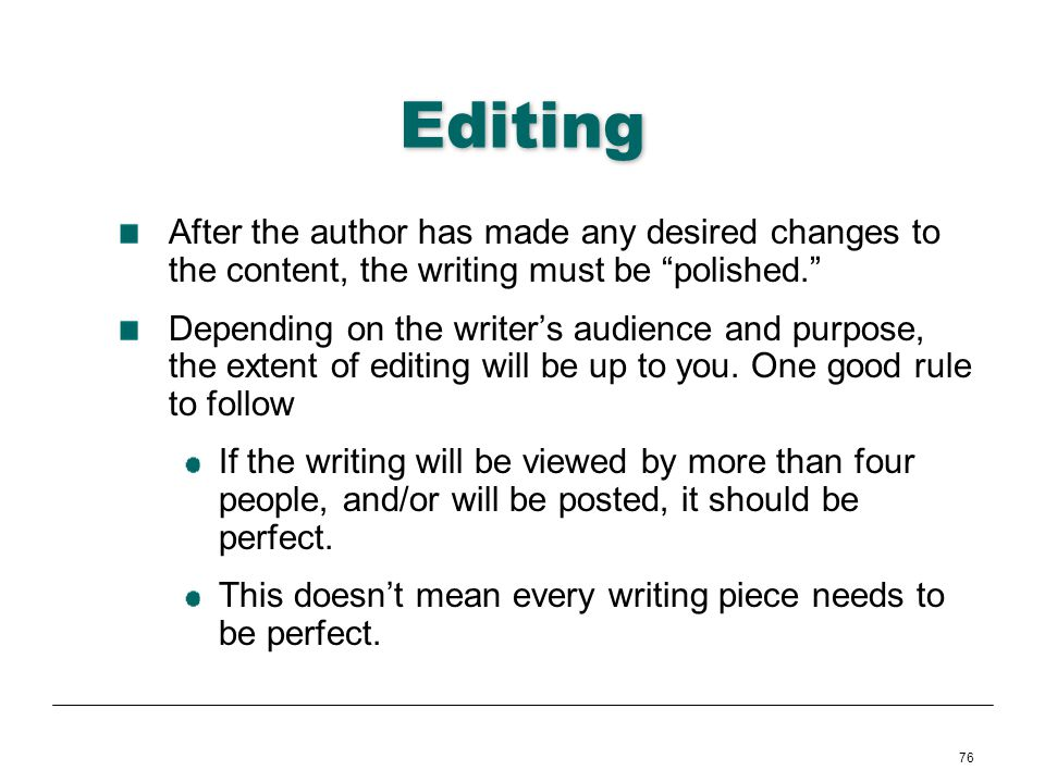 Editing After the author has made any desired changes to the content, the writing must be polished.