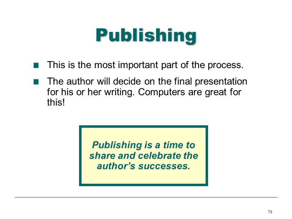 Publishing is a time to share and celebrate the author's successes.