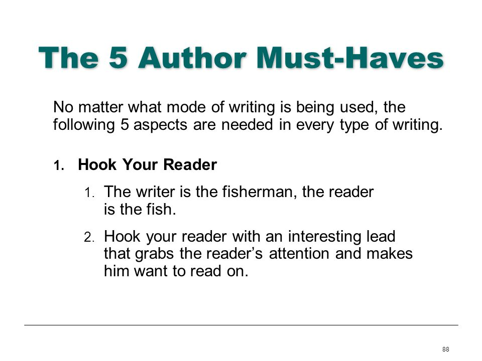 The 5 Author Must-Haves No matter what mode of writing is being used, the following 5 aspects are needed in every type of writing.