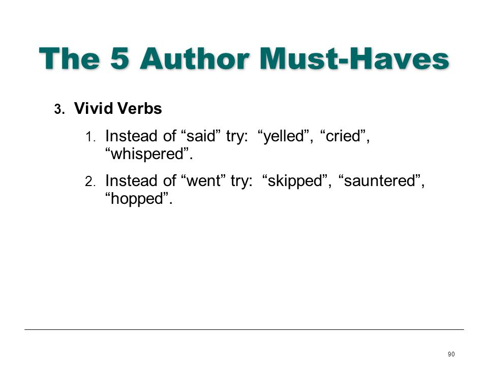 The 5 Author Must-Haves Vivid Verbs