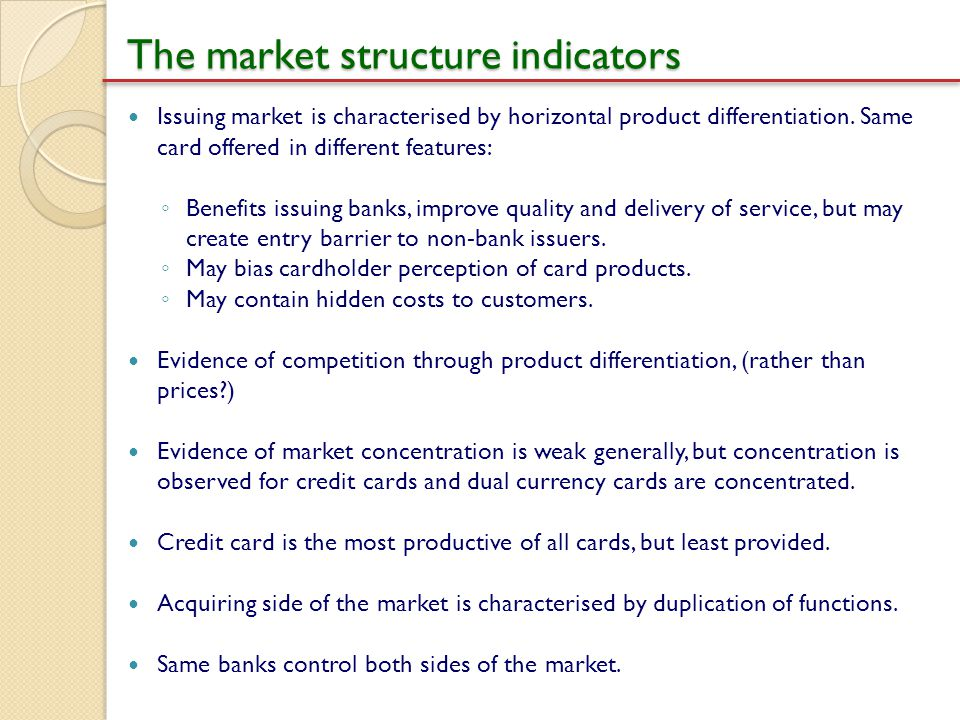 The market structure indicators