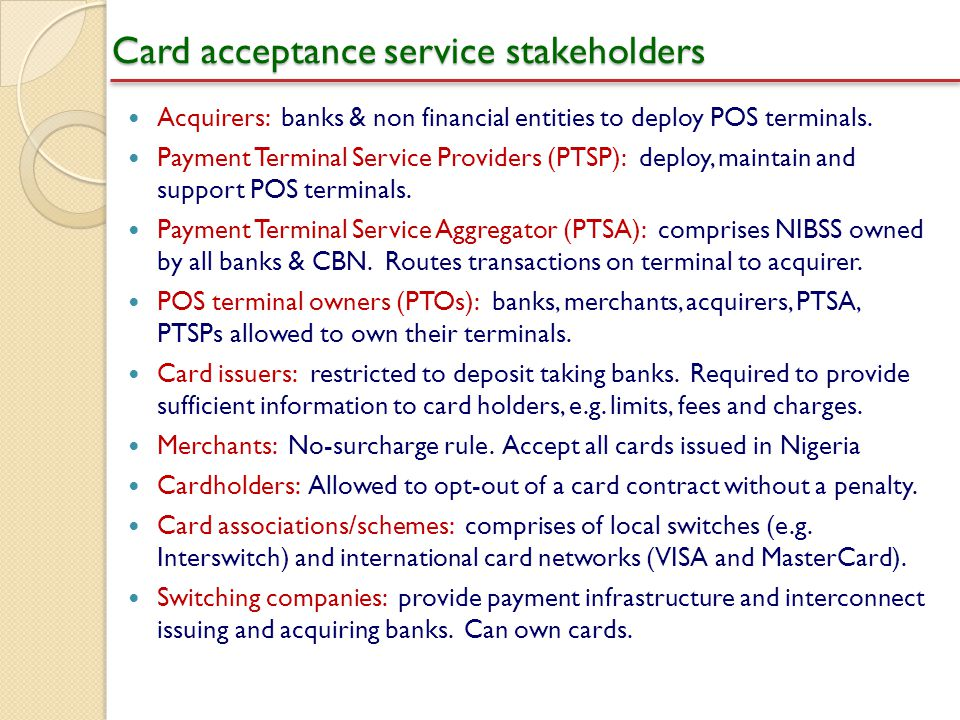 Card acceptance service stakeholders