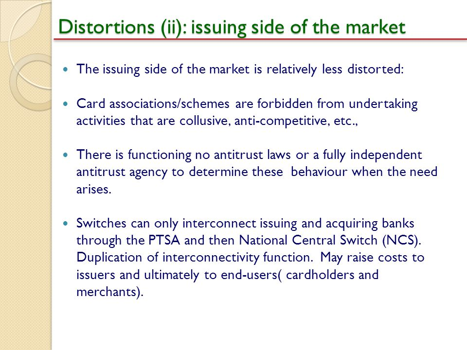 Distortions (ii): issuing side of the market