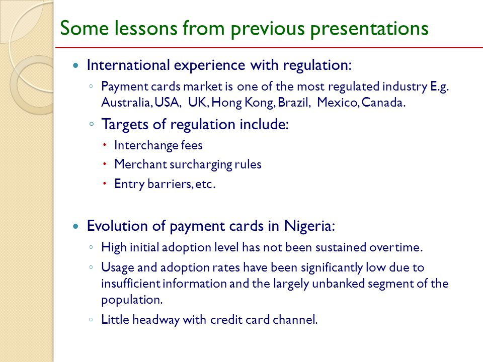 Some lessons from previous presentations