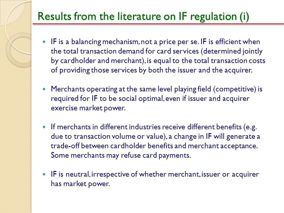 Results from the literature on IF regulation (i)