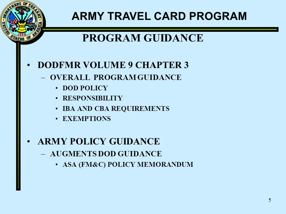 PROGRAM GUIDANCE DODFMR VOLUME 9 CHAPTER 3 ARMY POLICY GUIDANCE