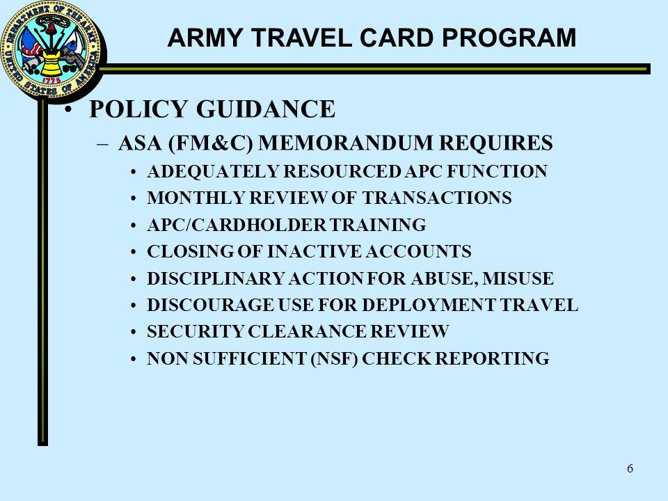 POLICY GUIDANCE ASA (FM&C) MEMORANDUM REQUIRES