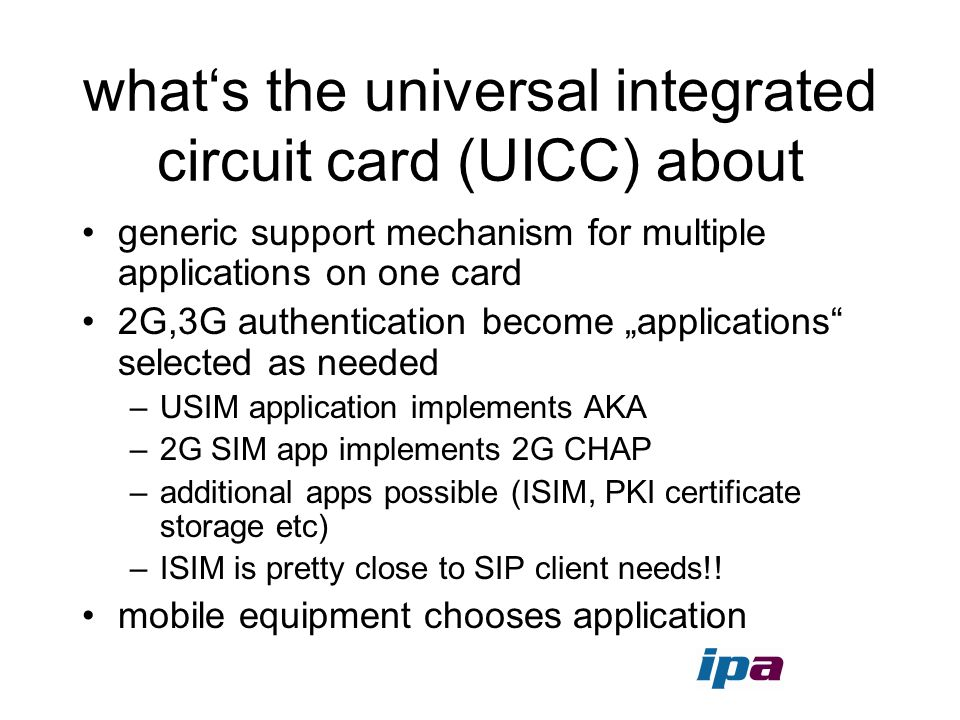 what's the universal integrated circuit card (UICC) about