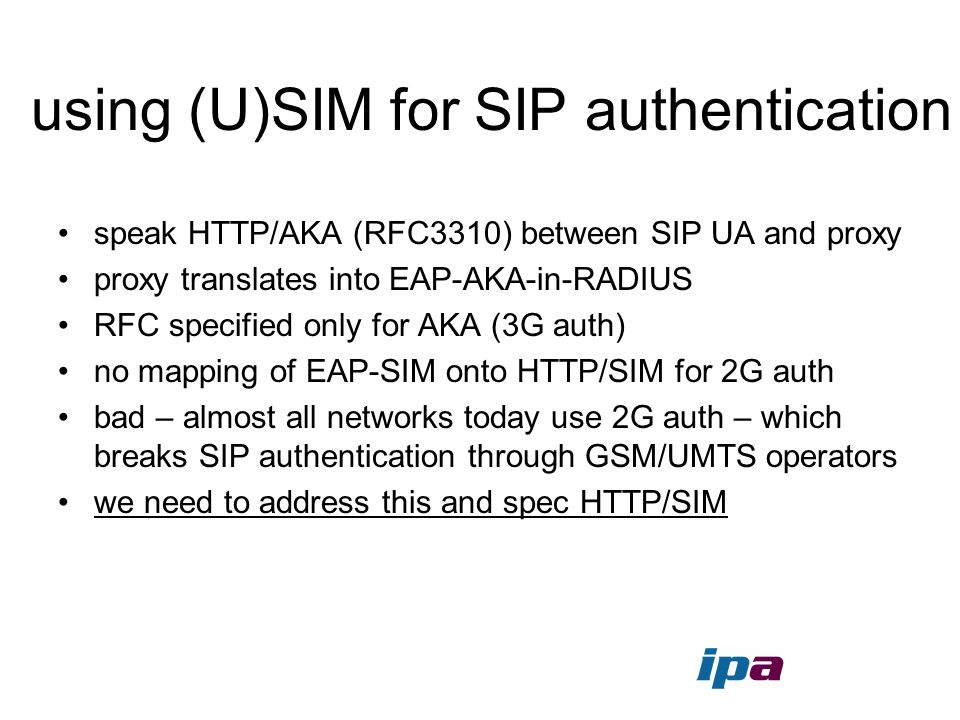 using (U)SIM for SIP authentication
