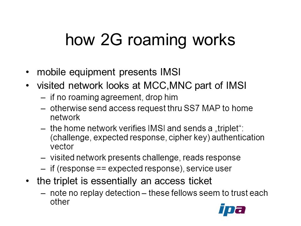 how 2G roaming works mobile equipment presents IMSI