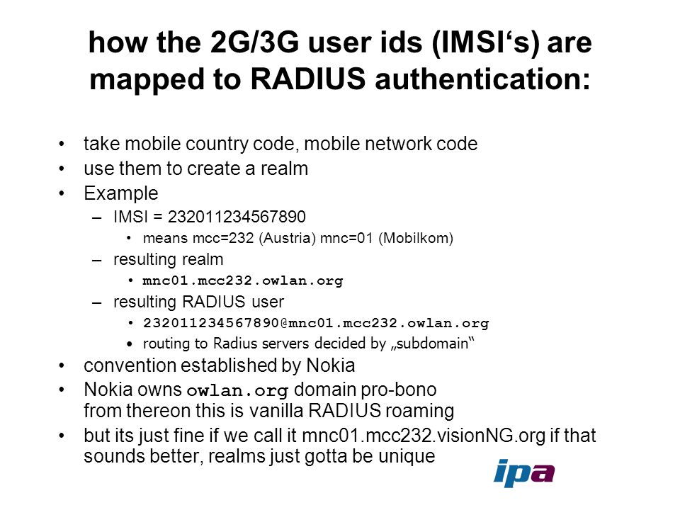 how the 2G/3G user ids (IMSI's) are mapped to RADIUS authentication: