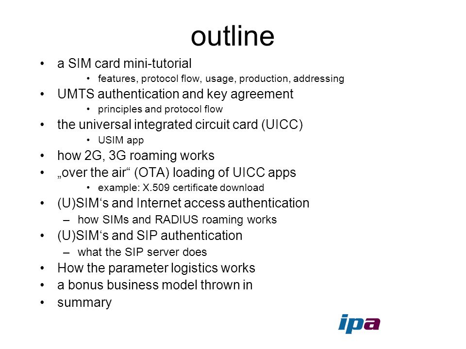 outline a SIM card mini-tutorial UMTS authentication and key agreement