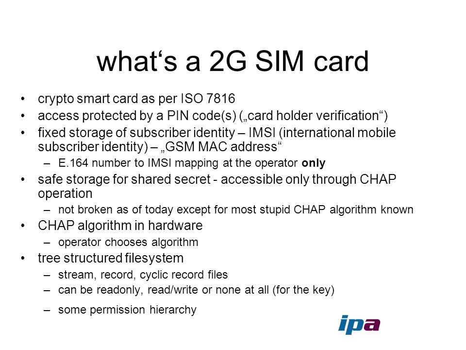 what's a 2G SIM card crypto smart card as per ISO 7816