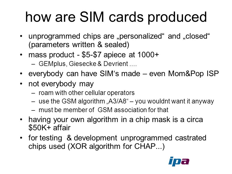how are SIM cards produced