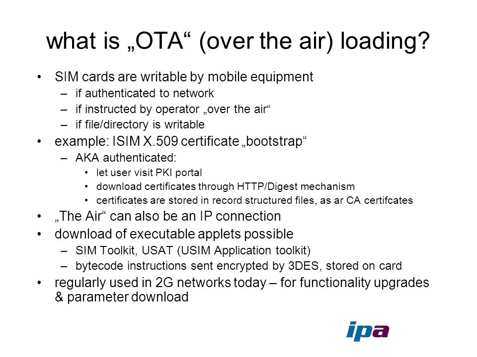 "what is ""OTA (over the air) loading"