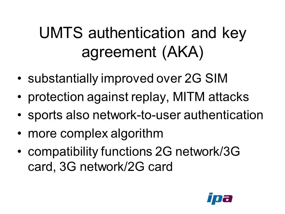 UMTS authentication and key agreement (AKA)