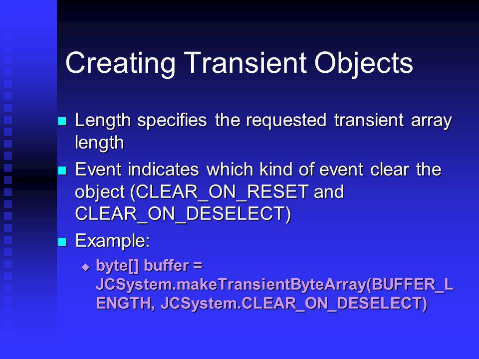 Creating Transient Objects