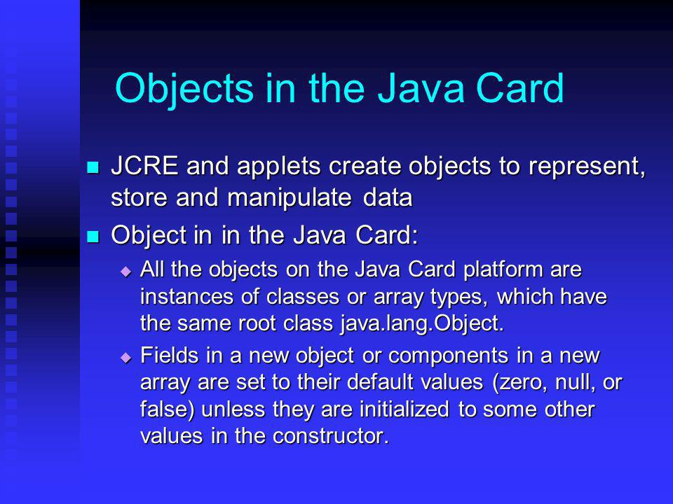 Objects in the Java Card
