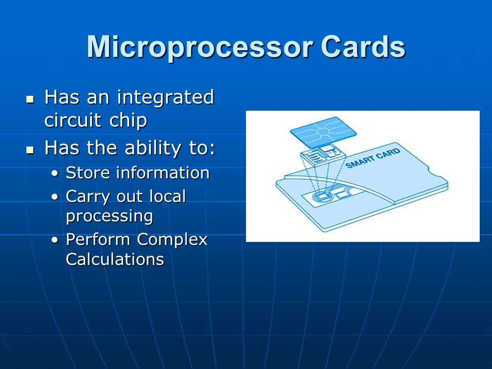 Microprocessor Cards Has an integrated circuit chip