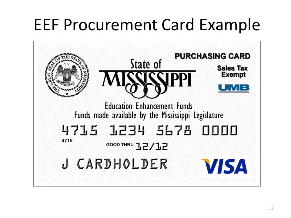 EEF Procurement Card Example