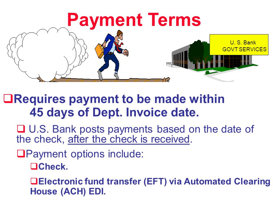 Payment Terms Requires payment to be made within