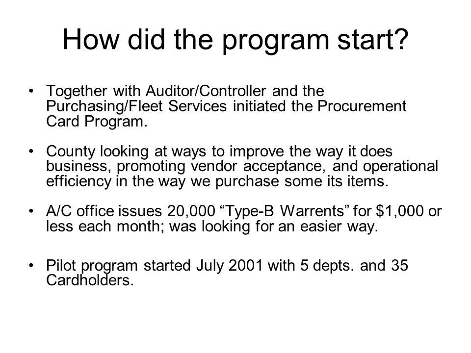 How did the program start