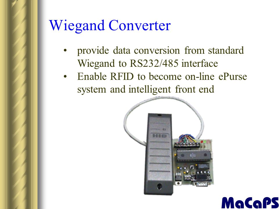 Wiegand Converter provide data conversion from standard Wiegand to RS232/485 interface.
