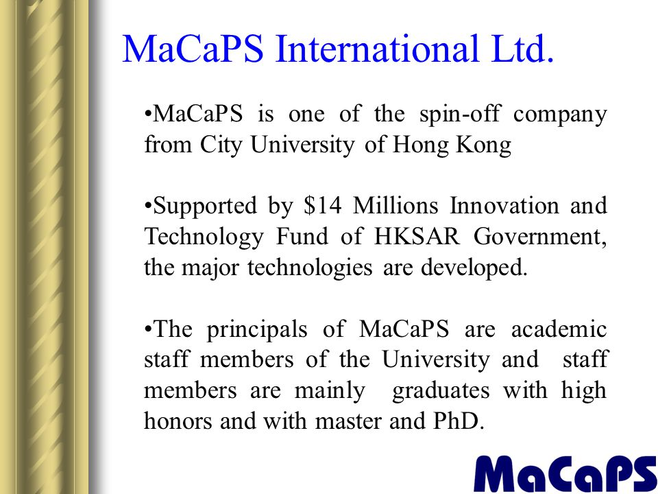 MaCaPS International Ltd.