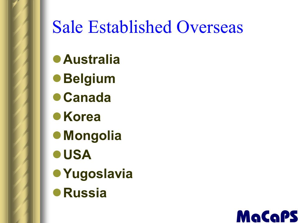 Sale Established Overseas