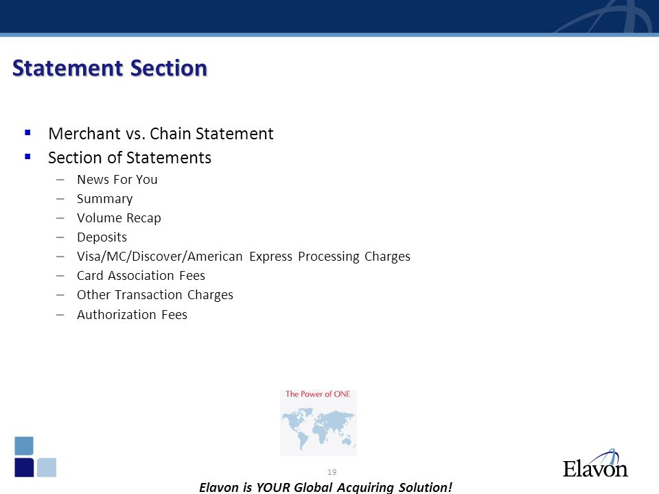 Statement Section Merchant vs. Chain Statement Section of Statements