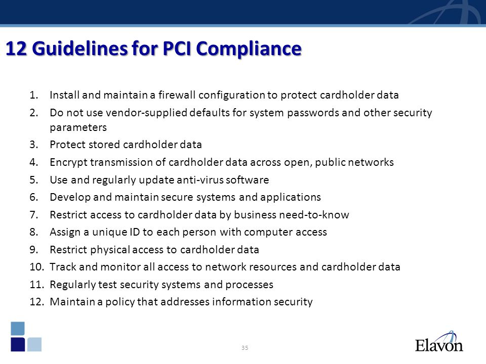 12 Guidelines for PCI Compliance