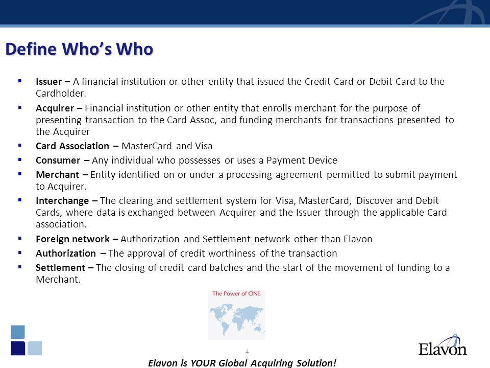 Define Who's Who Issuer – A financial institution or other entity that issued the Credit Card or Debit Card to the Cardholder.