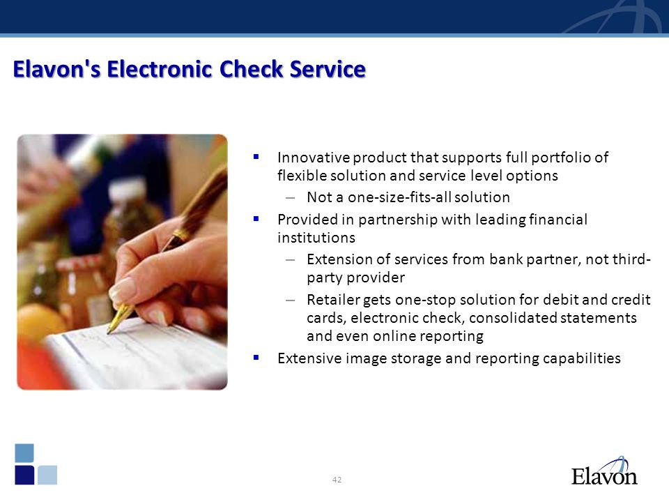 Elavon s Electronic Check Service