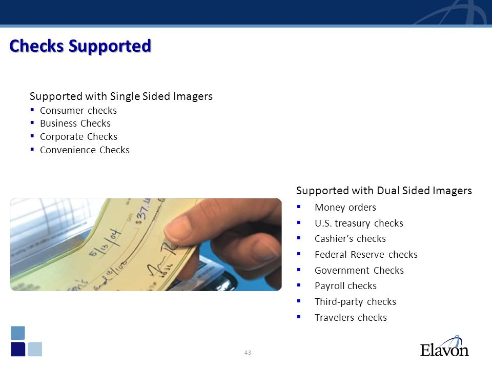 Checks Supported Supported with Single Sided Imagers