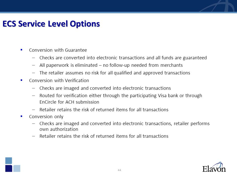 ECS Service Level Options