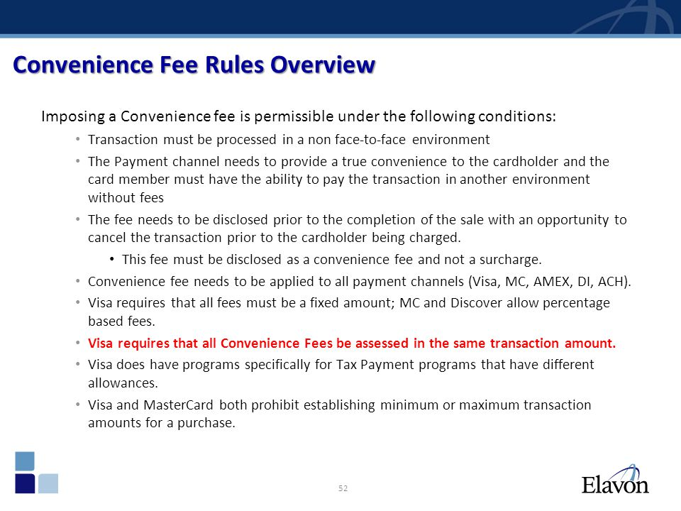 Convenience Fee Rules Overview
