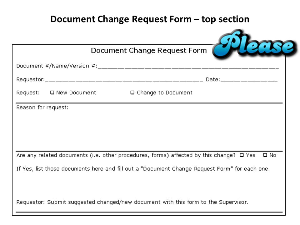 Document Change Request Form – top section