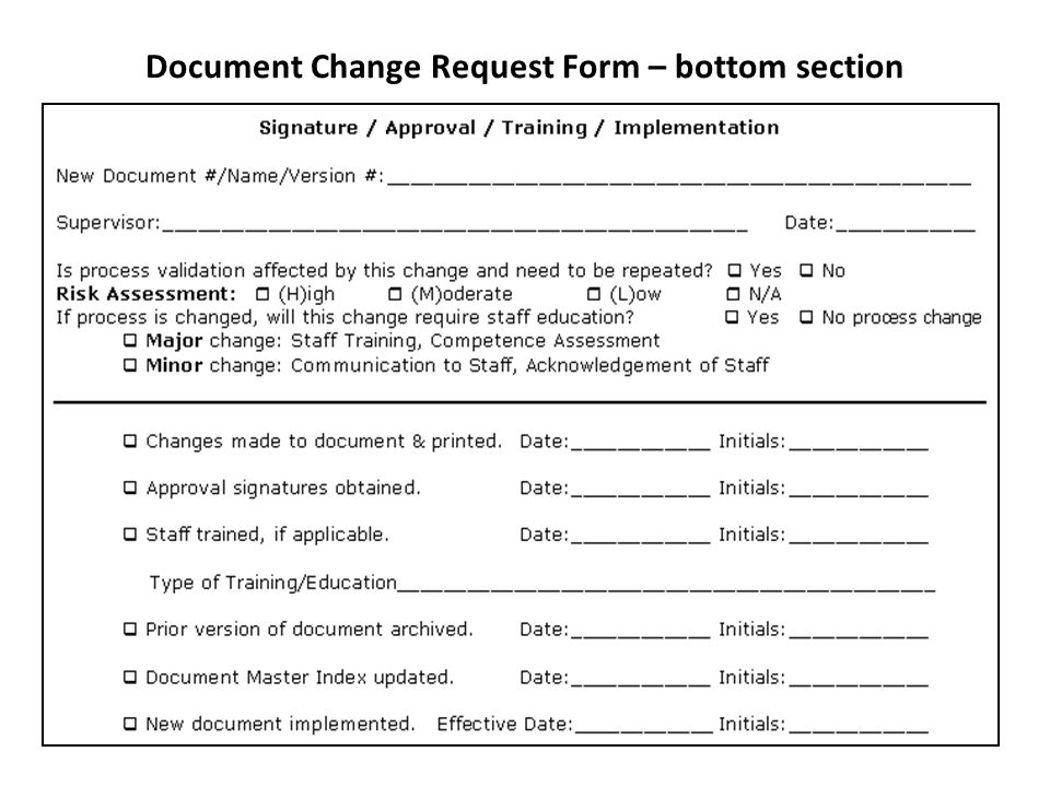 Document Change Request Form – bottom section