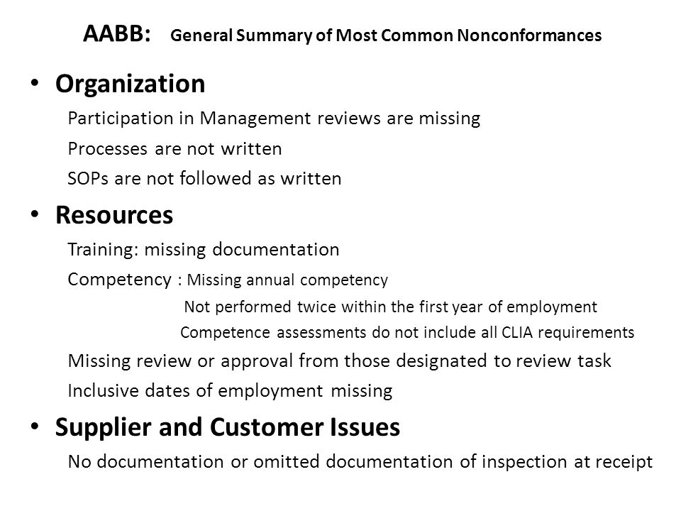 AABB: General Summary of Most Common Nonconformances
