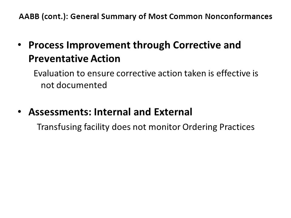 AABB (cont.): General Summary of Most Common Nonconformances