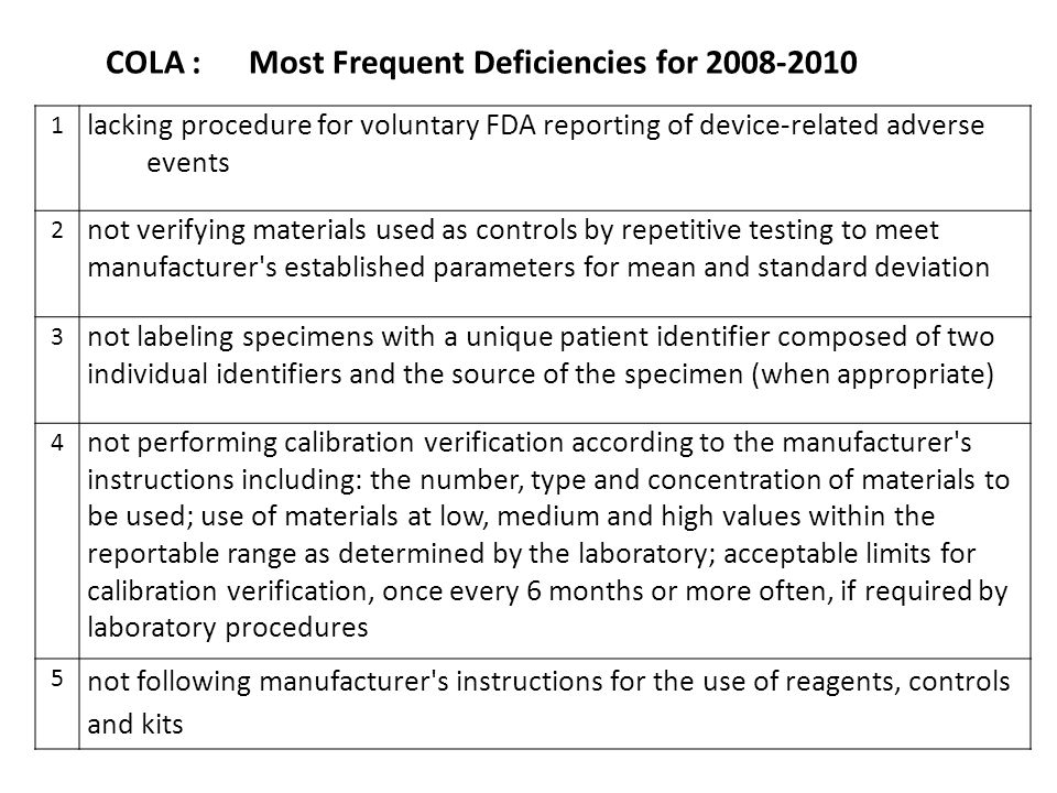 COLA : Most Frequent Deficiencies for 2008-2010