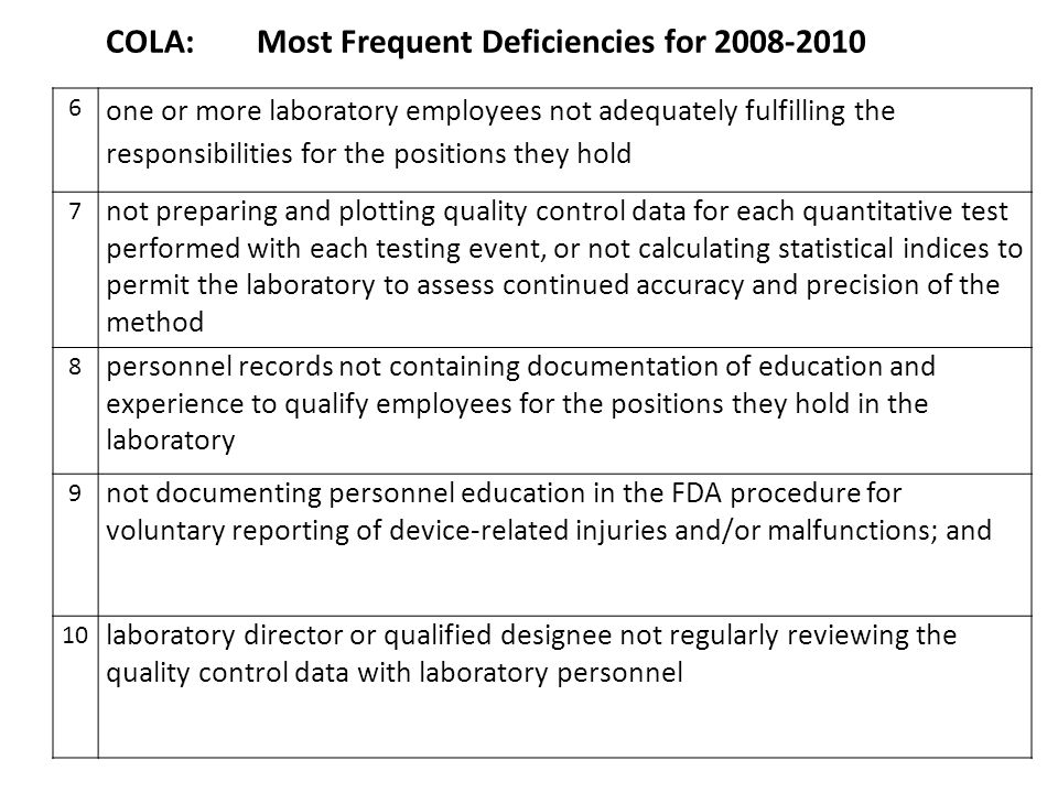 COLA: Most Frequent Deficiencies for 2008-2010