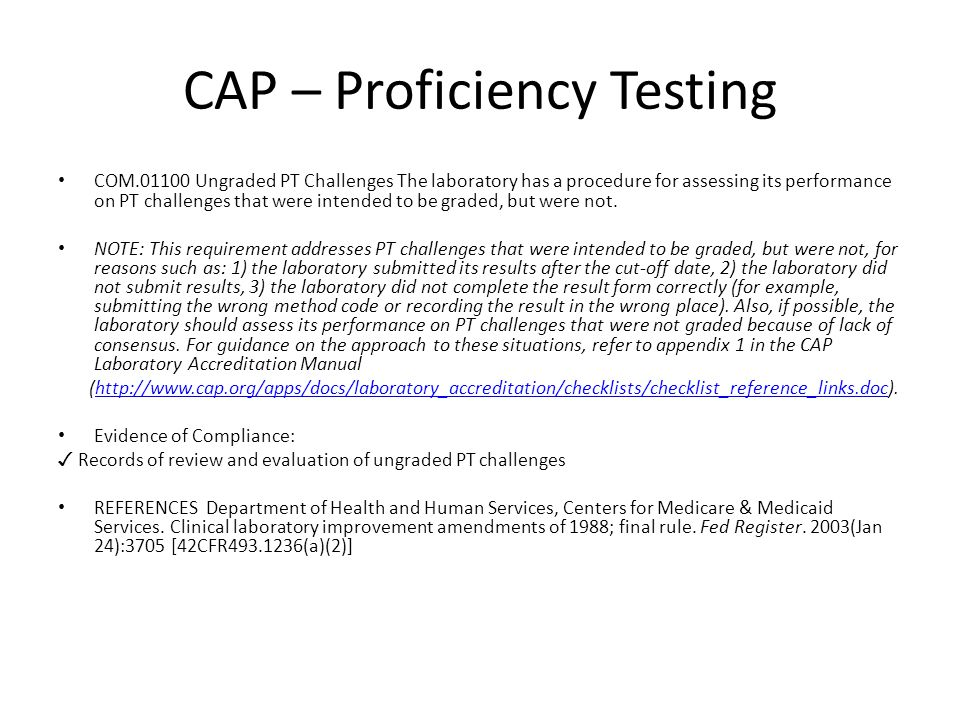 a review of proficiency testing Identifying best practices in laboratory medicine review of proficiency testing services for clinical laboratories in the united states - final report of a technical working group.