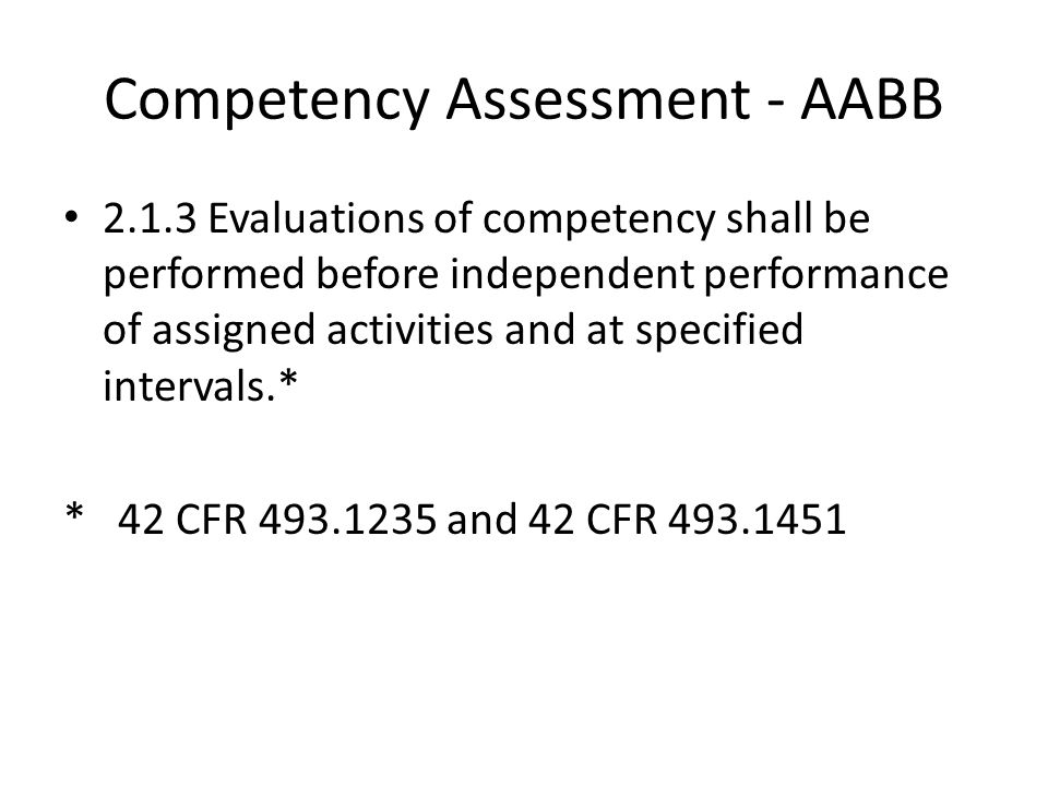 Competency Assessment - AABB